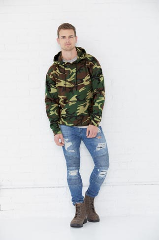 Code V Men's 7.5 Ounce Camo Pullover Fleece Hoodie