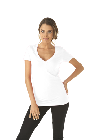 Next Level Ladies 4.3 Ounce CVC Deep V-Neck T-Shirt